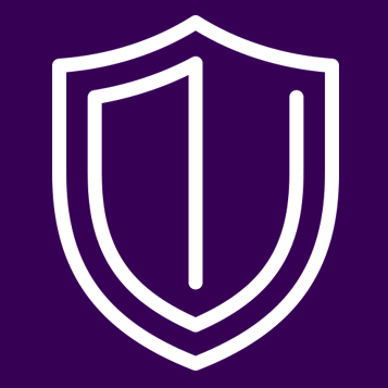 White Shield Outline on Purple Background