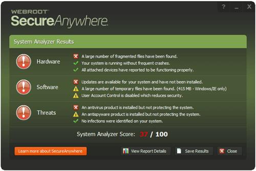 Webroot System Analyzer screenshot