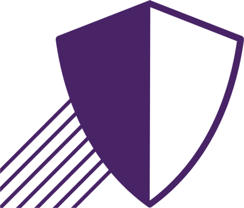 Shield Outline Icon on Purple Background